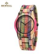 BEWELL Hypoallergenic Environmental Friendly Wooden Bamboo Watch Immaculate Classy Quartz Analog Unisex Wristwatch