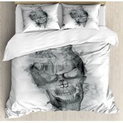 Skull Duvet Cover Set, Contemporary Illustration of Smokey Grungy Dark Horror Style Devil Evil Print Art, Decorative Bedding Set with Pillow Shams, Grey White, by Ambesonne