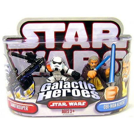 Star Wars Galactic Heroes 2007 Sandtrooper   Obi Wan Kenobi Mini Figure 2 Pack