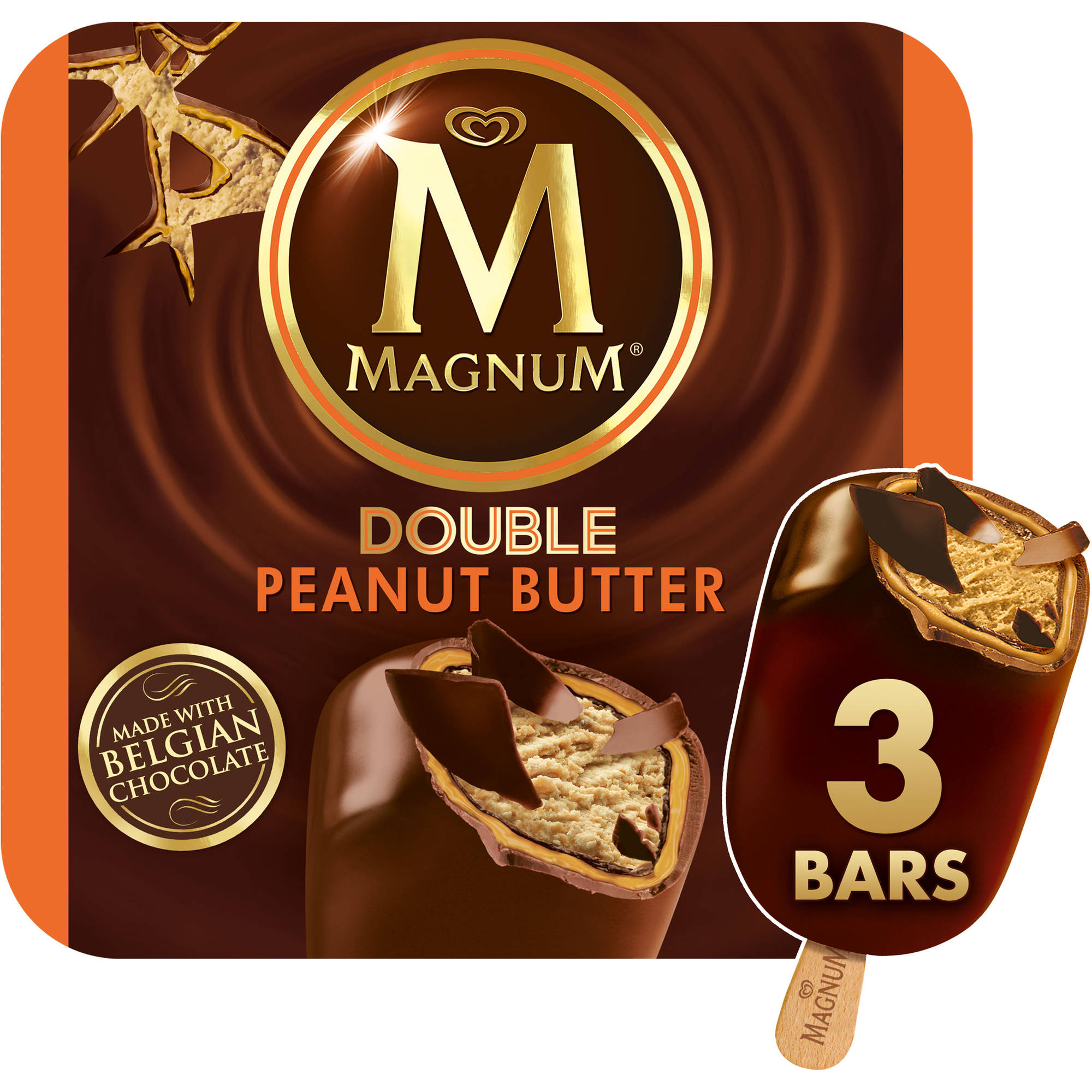 Magnum Mini Double Peanut Butter Ice Cream Bars, 3 count