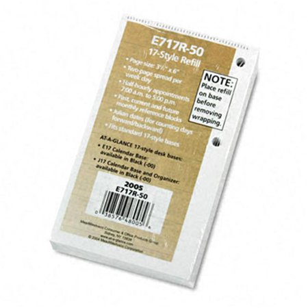 At-A-Glance E717R50 One-Color Daily Desk Calendar Refill  Recycled Paper  3-1/2w x 6h (Paper Refills Summary)