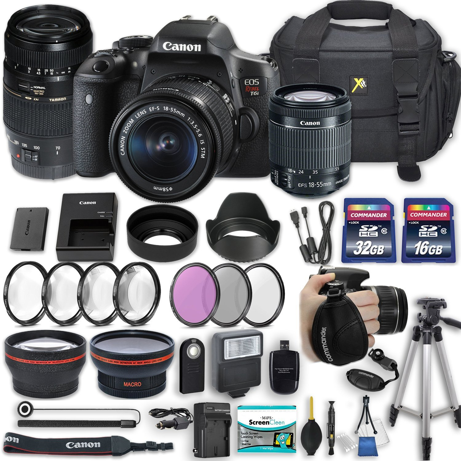 "Canon EOS Rebel T6i 24.2 MP DSLR Camera with Canon EF-S 18-55mm f/3.5-5.6 IS STM Lens + Tamron 70-300mm f/4-5.6 Di LD Lens + 2 Memory Cards + 2 Aux Lenses + 50"" Tripod + Accessories Bundle (24 Items)"