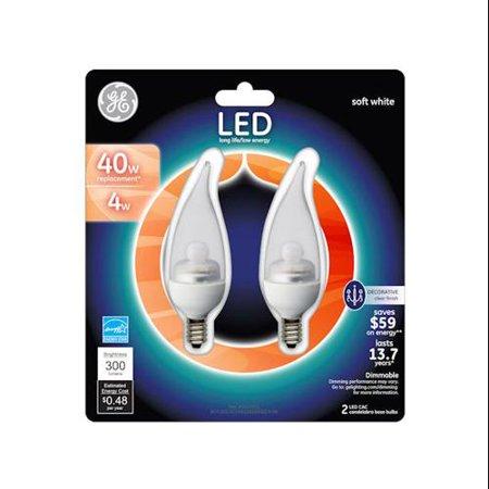 G E Lighting 26326 LED Light Bulb, Candle Shape, Candelabra Base, 4-Watt, Clear, 2-Pk.