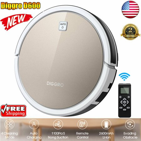Robotic Vacuum Cleaner, Diggro D600 Robot Vacuum with Remote Control, Automatic self-chorging, Powerful Suction, Best Robot Vacuum for Pet Hair, Hard Floor and Low Pile