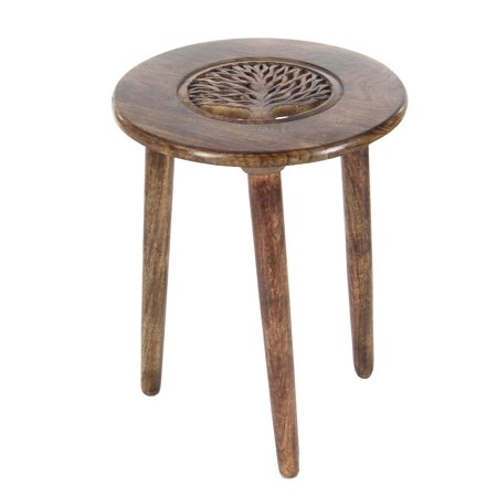 Decmode 22 X 17 Inch Modern Round Mango Wood Tripod Accent Table With Carved Tree Design, Brown