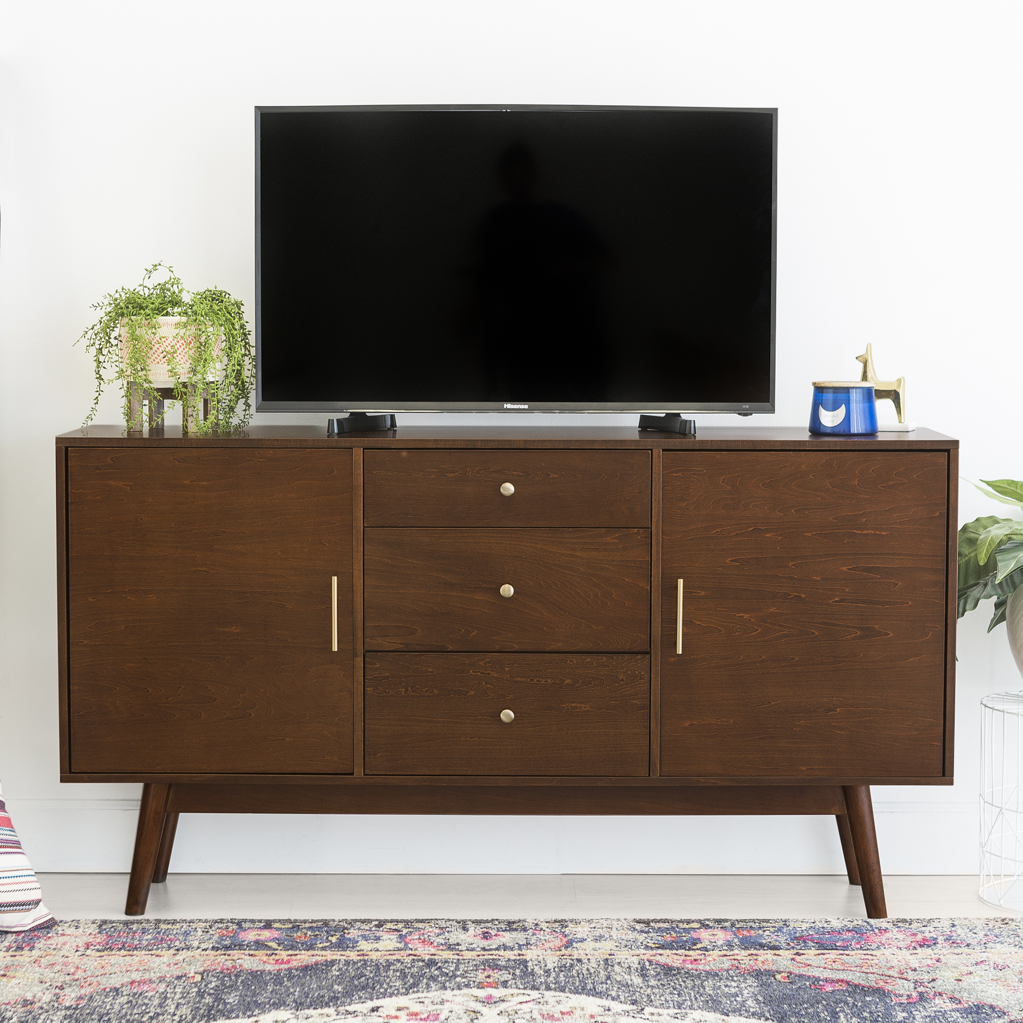 "60"" Mid-Century Modern Wood TV Stand Media Storage Console Entertainment Center - Walnut"