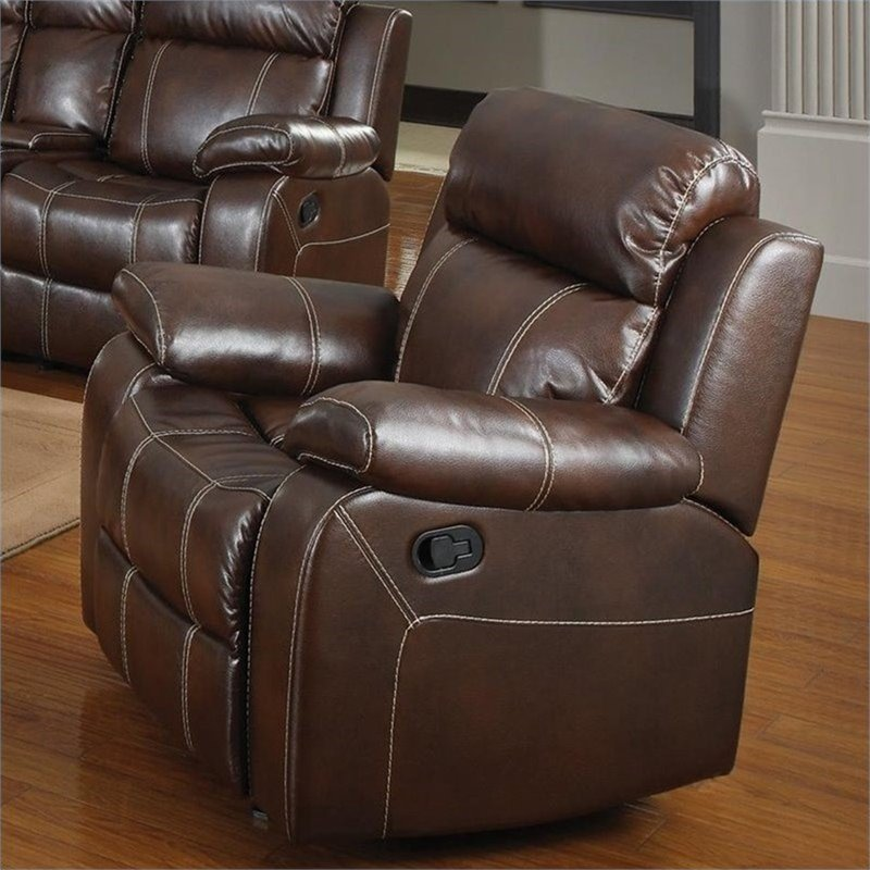 Bowery Hill Faux Leather Glider Recliner In Chestnut