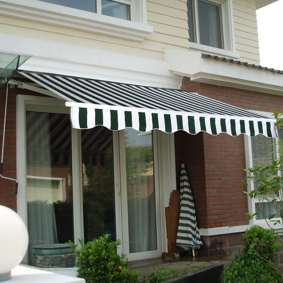 Manual Patio 8.2'×6.5' Retractable Deck Awning Sunshade Shelter Canopy Outdoor Stripe Green