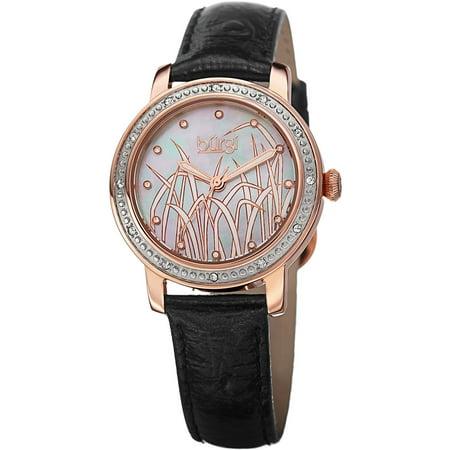 Bur096rg Women's Diamond Black Gen Leather Mother Of Pearl Dial Rose-Tone Ss