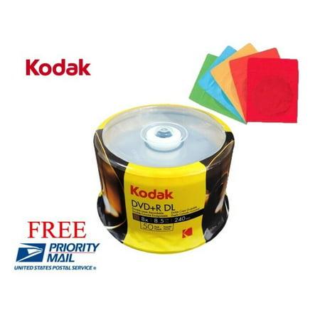 50 Kodak Logo 8x Blank Dvd R Dl Dual Layer Disc 8 5gb 50 Color Paper Sleeves