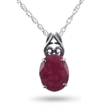 Royal Jewels Collection, Natural Faceted Opaque Ruby Sterling Silver Necklace Cut Red Ruby Natural Gem