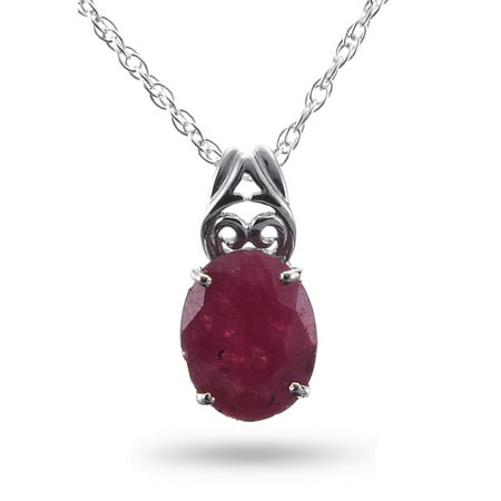 Royal Jewels Collection, Natural Faceted Opaque Ruby Sterling Silver Necklace