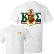 Kappa Sigma Standard T-Shirt - Crest and Greek Letter Back Imprint ? White & Sport Gray