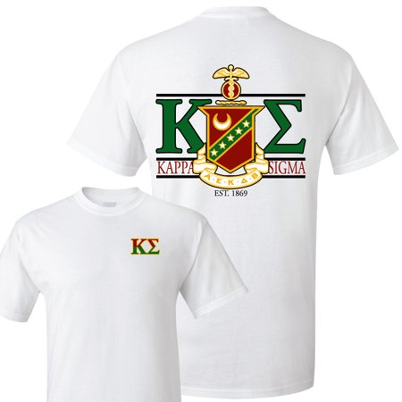 Kappa Sigma Standard T-Shirt - Crest and Greek Letter Back Imprint – White & Sport Gray ()