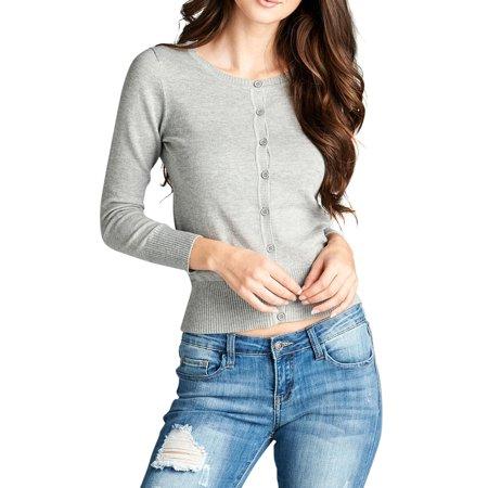 TheLovely - Women   Juniors Crew Neck Light Thin Knit Button Down Sweater  Cardigan - Walmart.com c53f4a7a5