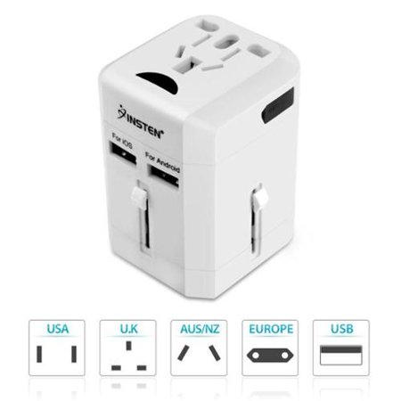 Insten 2X Worldwide Travel Power Adapter Dual Port Usb Charger 2 5A International  Us Uk Eu Au China  White