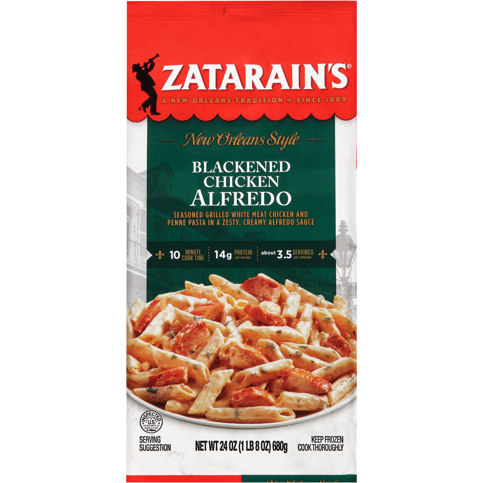 Zatarain S Blackened Chicken Alfredo Frozen Dinner 24 Oz Walmart Com Walmart Com