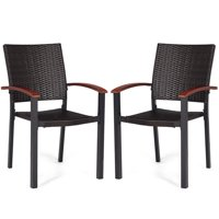Costway 2PCS Patio Dining Chairs Armchair Stackable Rattan Wicker Outdoor Aluminum Frame