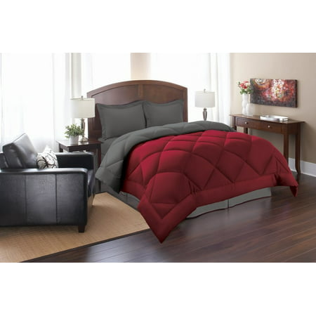 All Season Comforter and Year Round Medium Weight Down Alternative Reversible 3-Piece Comforter Set-Full/Queen, Red/Gray Red Queen Comforter