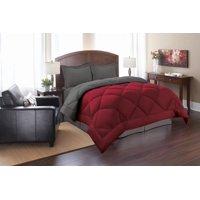2-Piece Reversible Microfiber Comforter Set Alternative Duvet with Pillow Shams -King/Cal King, Red/Gray