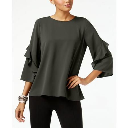 Alfani Womens Zip-Back Ruffled Blouse (Alumni Clothing)