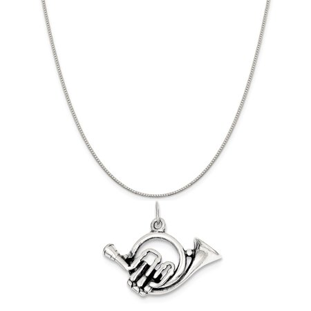- Sterling Silver Antiqued French Horn Charm on a Sterling Silver Box Chain Necklace, 16