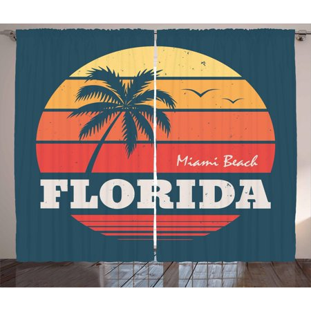 Florida Curtains 2 Panels Set, Abstract Circular Design of Miami Beach Warm Colored Sunset and Birds, Window Drapes for Living Room Bedroom, 108W X 84L Inches, Bluegrey Multicolor, by Ambesonne (Spirit Halloween Sunset Miami)