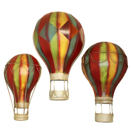 EC World Imports 3 Piece Grand Spectacular Hot Air Balloons Metal Art Wall Decor Set by EC World Imports