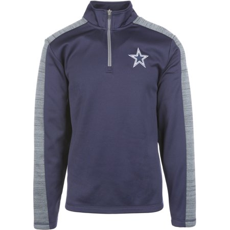 Dallas Cowboys Mens Jackets - Men's Navy/Heathered Charcoal Dallas Cowboys Diablo Quarter-Zip Pullover Jacket
