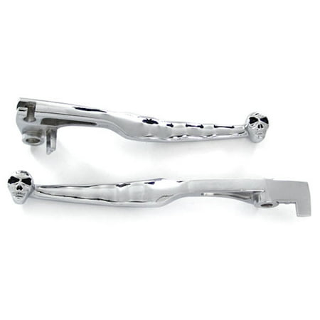 Brake Lever Grips - Krator 1997-2006 Suzuki Boulevard C50 M50 / Marauder 800 / Volusia 800 Billet Aluminum Chrome Brake and Clutch Skull Hand Grips Levers Left and Right One Pair Motorcycle