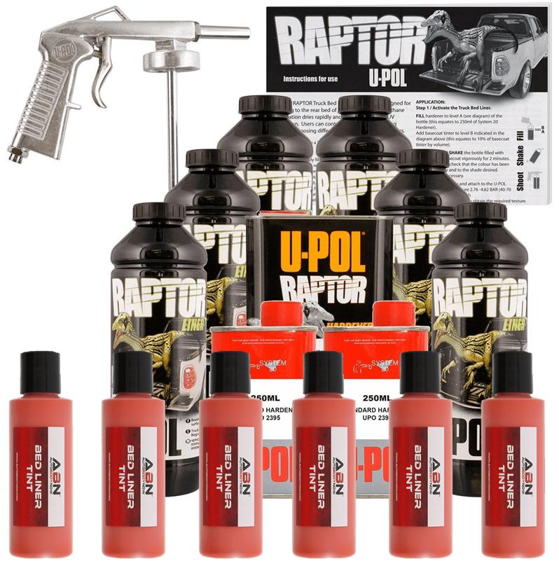 U-POL Raptor Tintable Safety Orange BedLiner Kit w/ Spray Gun, 6L Upol