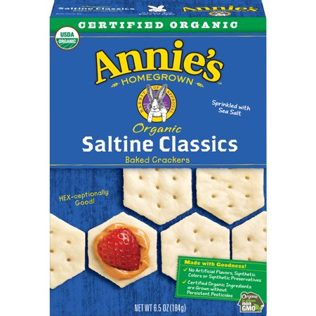 (2 Pack) Annie's Organic Saltine Classic, Baked Crackers, 6.5 oz
