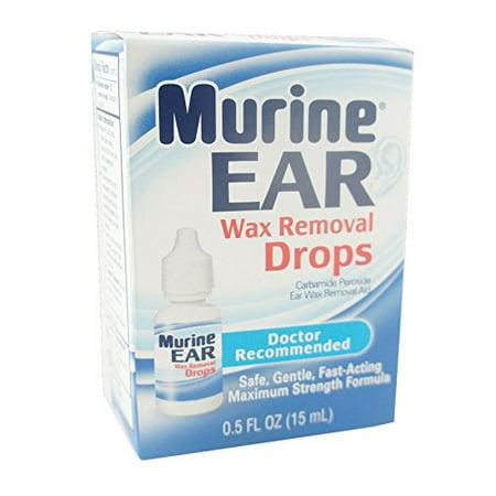 2 Pack Murine Ear Wax Removal Drops Maximum Strength 0.5 Oz Each