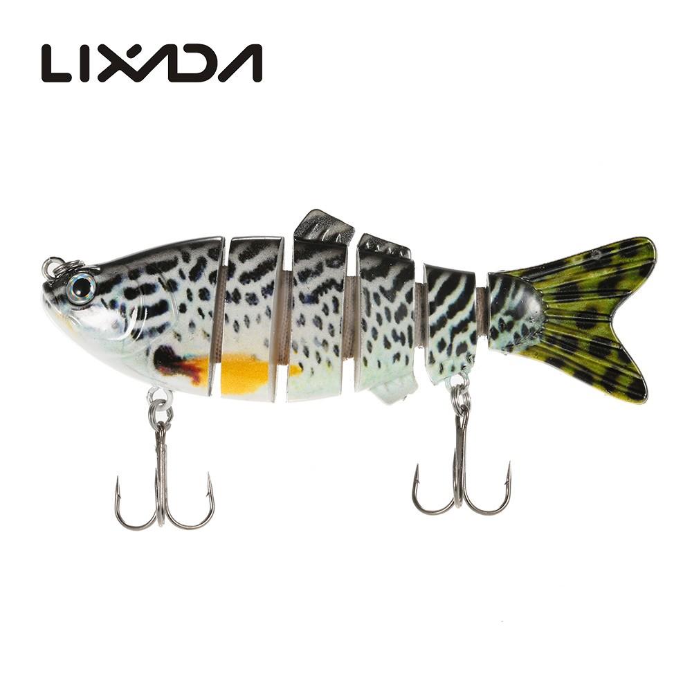 Lixada 6 Jointed Sections Swimbait Fishing Lure Crankbait Hard Bait Fish Hook by