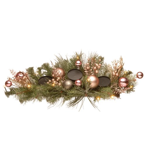 The Holiday Aisle Decorated Pine Centerpiece Metal Dish