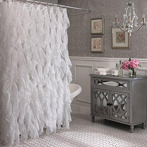 Cascade Shabby Chic Ruffled Sheer Shower Curtain (White) - Walmart.com