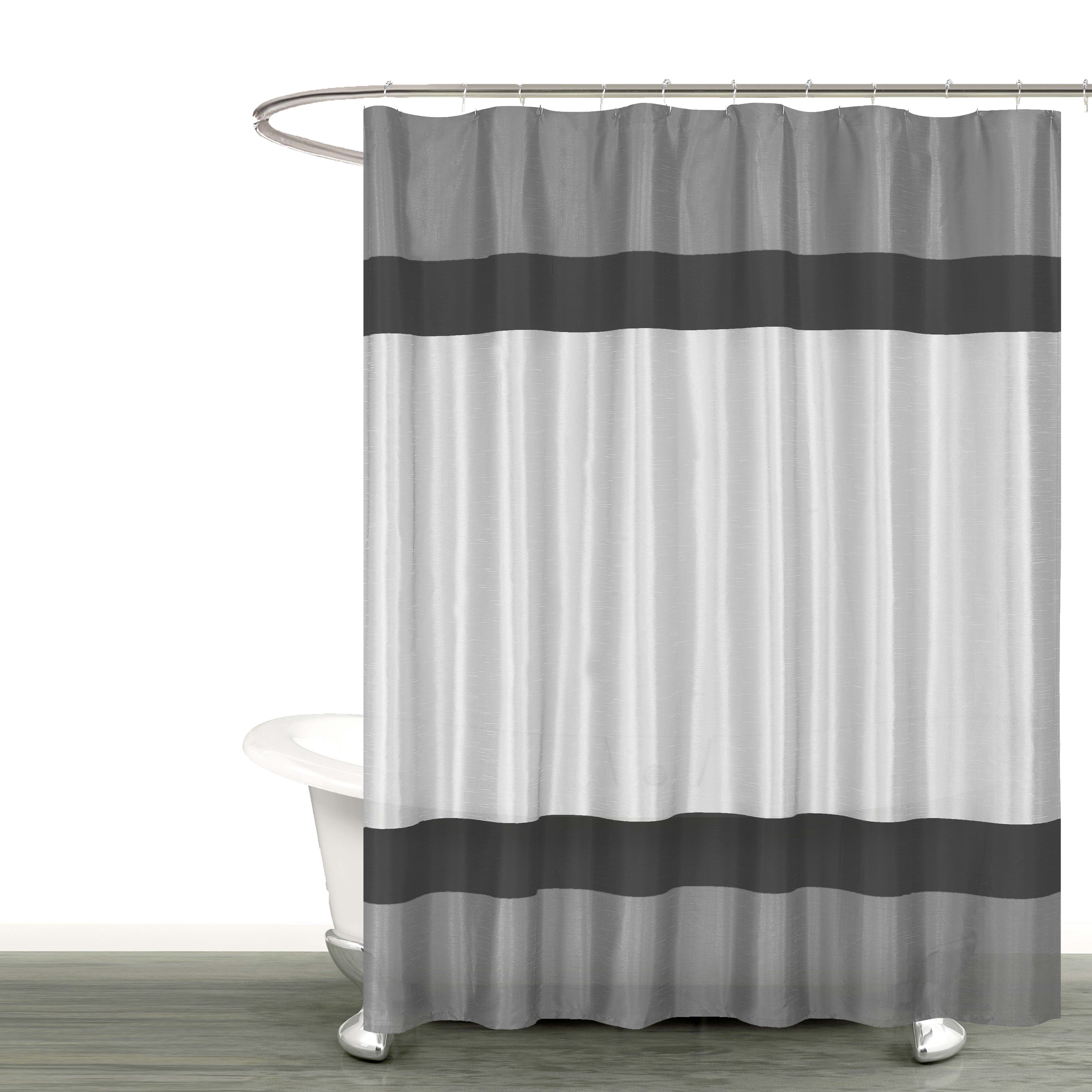"Gray Silver and Black Fabric Shower Curtain with Stripe Design: Bathroom and More Collection (72"" W x 78"" Extra Long)"