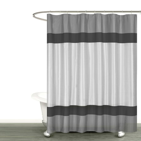 Gray Silver and Black Fabric Shower Curtain with Stripe Design: Bathroom and More Collection (72