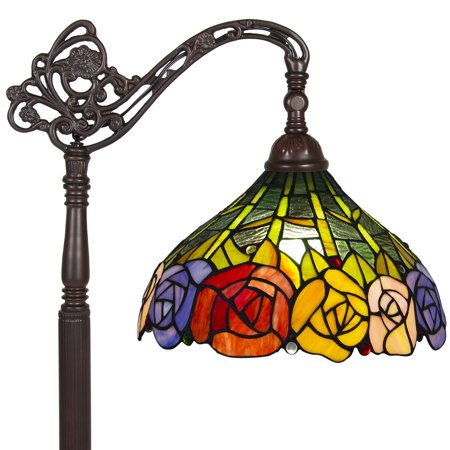 Park Style Patio Lamp - Best Choice Products 62in Vintage Tiffany Style Accent Floor Light Lamp w/ Rose Flower Design for Living Room, Bedroom - Multicolor