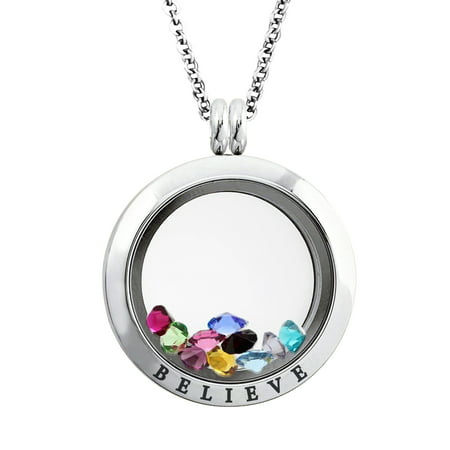 25 MM Stainless Steel Believe Engraved Floating Glass Charm Locket Pendant Necklace