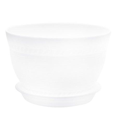 Plastic Pottery Clay Style Flower Pot Planter White for Balcony Garden