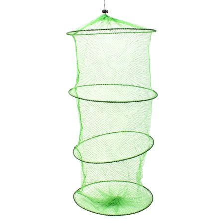 Collapsible 3 Sections Crab Fish Crayfish Eel Nylon Fishing Net Cage (Fishnet 3 Light Pendant)