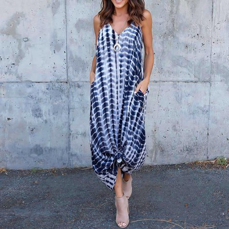 Female Stripe Wave Maxi Dress Deep V Low Cut Summer Beach Dress Plus (Low Cut Caesar With The Deep Waves)