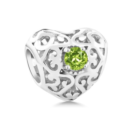 Green Snowman Charm (0.24 Ct Green Peridot August Birthstone 925 Sterling Silver Bead Charm )