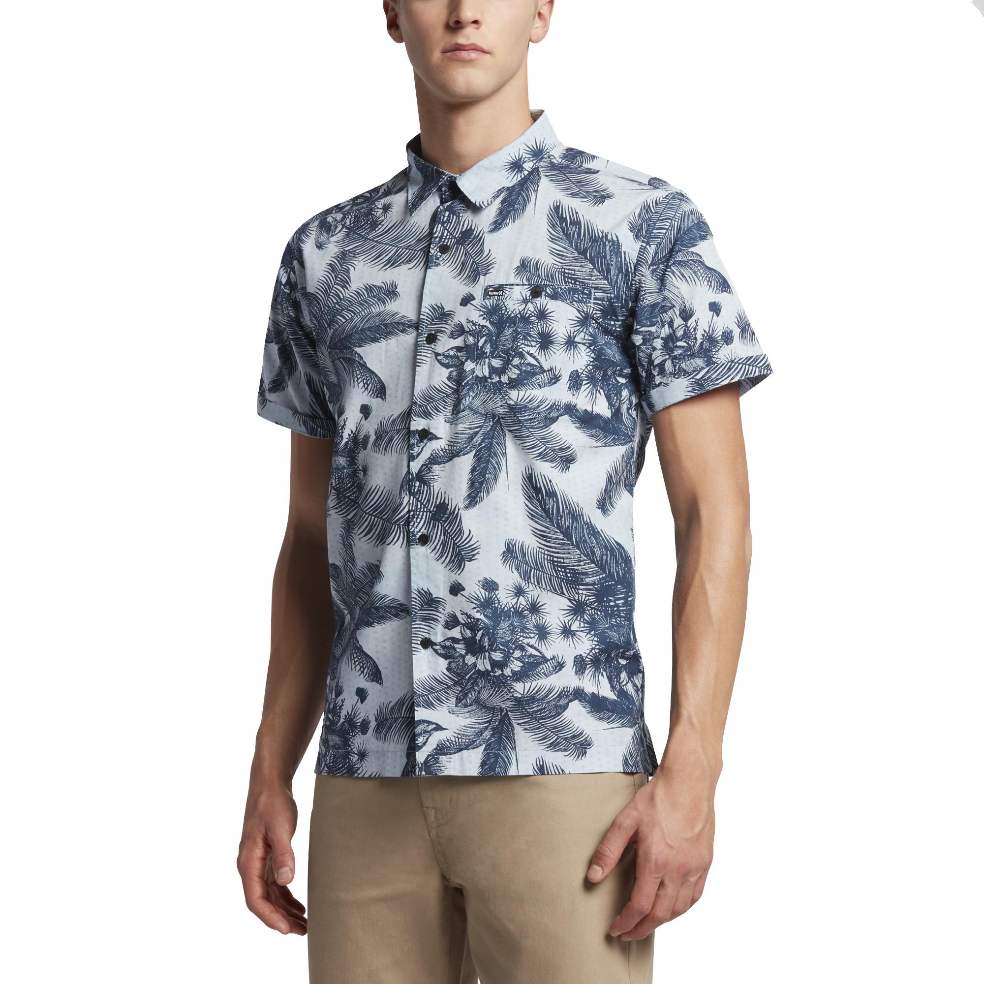 Hurley MVS0003650 Men's Long Waves Short Sleeve Shirt, Ob...