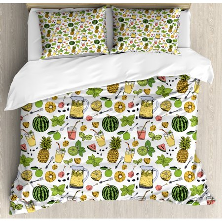 Tropical King Size Duvet Cover Set, Summer Holiday Pattern with Fruits and Cocktails Refreshments Juice and Drinks, Decorative 3 Piece Bedding Set with 2 Pillow Shams, Multicolor, by