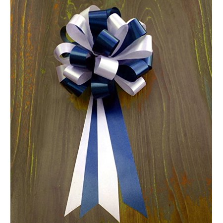 Wedding Pew Bows (Navy Blue and White Wedding Pew Pull Bows - 8