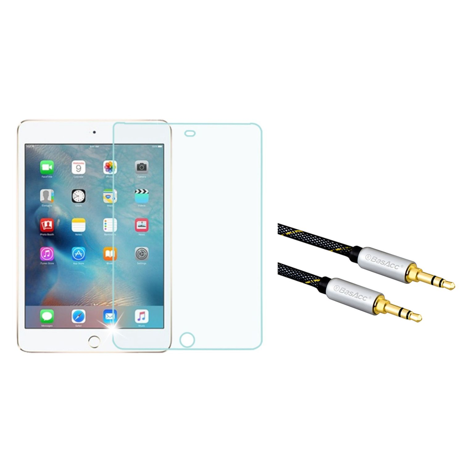 Tempered Glass For iPad Mini 4, by Insten Tempered Glass Screen Protector For iPad Mini 4 4th Gen (2015) (with 3.5mm Audio Extension Cable M/M)