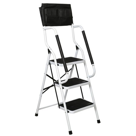 Folding 3-Step Safety Step Ladder - Padded Side Handrails - Attachable Tool Pouch -