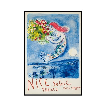 1962 Vintage Picture - Nice - Soleil, Fleurs Vintage Poster (artist: Chagall) France c. 1962 (11x18 Framed Gallery Wrapped Stretched Canvas)